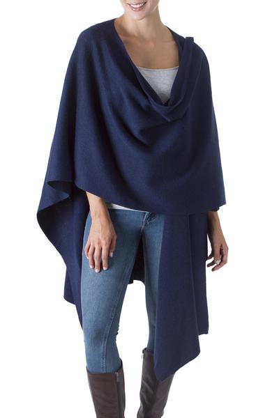 Alpaca blend shawl, 'Versatile Blue' - Alpaca Wool Solid Blue Shawl Wrap