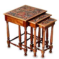 Mahogany and leather accent tables, 'Andean Garden' (set of 3)