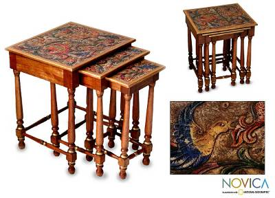 Mahogany and leather accent tables, 'Andean Garden' (set of 3) - Mahogany and leather accent tables (Set of 3)