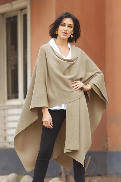 Alpaca blend wrap, 'Serenity' - Alpaca Wool Blend Wrap Ruana from Peru