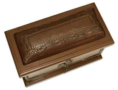 Leather trunk, 'Village, Country Collection' - Unique Traditional Wood Leather Chest Trunk