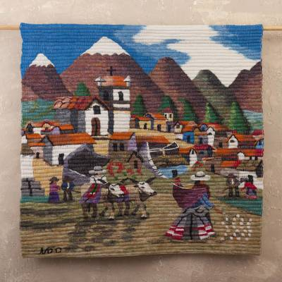Wool tapestry, 'Farm Family in the Sierra' - Hand Made Cultural Wool Tapestry Wall Hanging