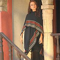 Alpaca blend ruana cloak, 'Mountain Grace' - Handcrafted Peruvian Alpaca Wool Ruana Cloak