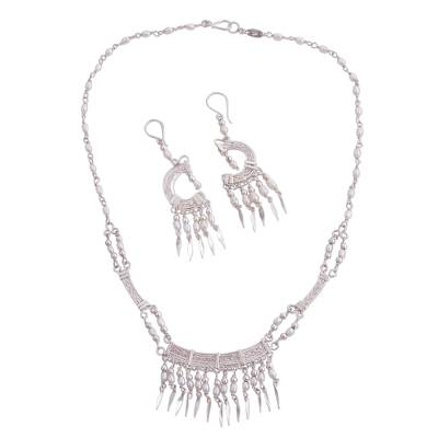 Pearl jewelry set, 'Danessi' - Bridal Sterling Silver Beaded Pearl Jewelry Set