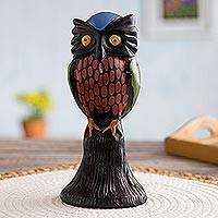 Ceramic figurine, 'Blue Capped Owl' - Ceramic figurine