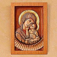 Cedar relief panel, 'Virgin of Caresses' - Religious Cedar Wall Art Panel