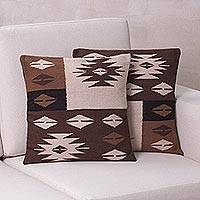 Alpaca blend cushion covers, 'Starlight on Earth' (pair) - Hand Made Geometric Alpaca Cushion Covers (Pair)