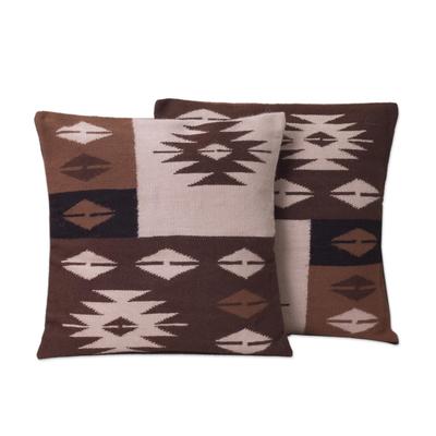 Alpaca blend cushion covers, 'Starlight on Earth' (pair) - Hand Made Geometric Alpaca Cushion Covers (Pair)