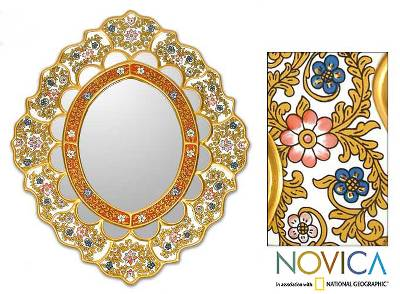 Reverse painted glass mirror, 'Dance of the Flowers' - Fair Trade Reverse Painted Glass Oval Floral Wall Mirror