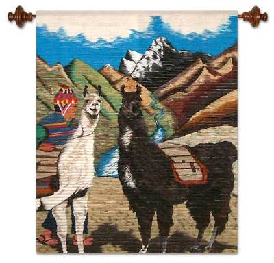 Wool tapestry, 'Llama Herdsman' - Llama Themed Wall Tapestry