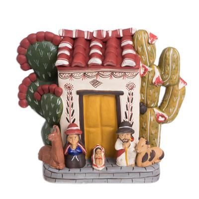 Ceramic nativity scene, 'Christmas at Home' - Ceramic nativity scene