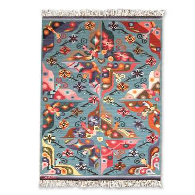 Wool rug, 'Garden of Butterflies' (4x5) - Wool Area Rug Blue Woven Handmade Peru (4x5)