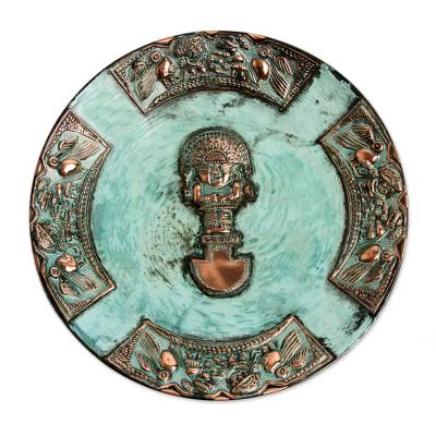Copper plate, 'Ceremonial Blade' - Handmade Archaeological Bronze and Copper Tumi Wall Plate