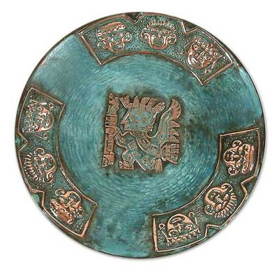 Copper plate, 'Inca Messenger' - Copper and Bronze Plate Handmade Art from Peru