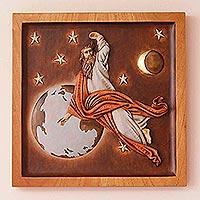 Cedar relief panel, 'Divine Creator' - Cedar relief panel