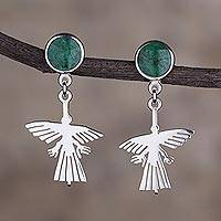 Chrysocolla earrings, 'Hummingbirds'