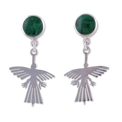 Sterling Silver and Chrysocolla Dangle Earrings