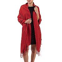 100% alpaca shawl, 'Vermilion'