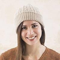 100% alpaca hat, 'Tan Mountain Roads'