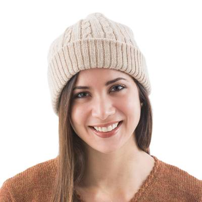 100% alpaca hat, 'Tan Mountain Roads' - Unique Womens Alpaca Wool Solid Knit Hat