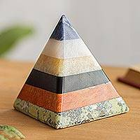 Gemstone pyramid, 'Natural Energy' - Handcrafted Gemstone Pyramid Paperweight Sculpture
