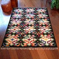 Wool rug, 'Sky Cross' (6x7.5) - Unique Handcrafted Wool Rug from Peru (6 x 7.5)