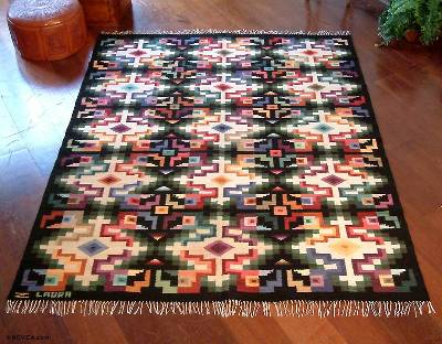Wool Rug 6x7 5 Sky Cross Novica