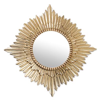 Mohena mirror, 'Radiant Sun' - Handmade Peruvian Gilded Wood Mirror