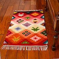 Wool rug, 'Masks' (2x3) - 2x3 Colorful Wool Rug