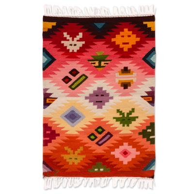 Wool rug, 'Masks' (2x3) - Wool rug (2x3)