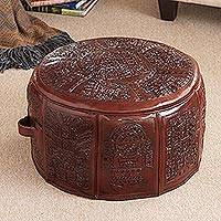 Leather ottoman cover, 'Sun God' (dark brown)