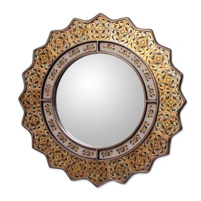 Reverse painted glass mirror, 'Marigold' - Fair Trade Reverse Painted Glass Oval Wall Mirror