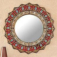 Reverse painted glass wall mirror, 'Ruby Medallion' - Peruvian Reverse Painted Mirror
