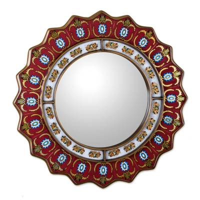 Reverse-painted glass wall mirror, 'Ruby Medallion' - Red Reverse-Painted Glass Wall Mirror from Peru
