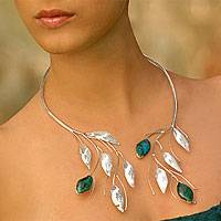 Chrysocolla wrap necklace, 'Inca Beauty' - Collectible Sterling Silver Floral Chrysocolla Wrap Necklace