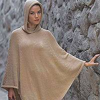 Alpaca blend poncho, 'Tan Riding Hood'