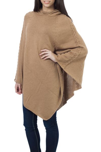 Alpaca blend poncho, 'Tan Riding Hood' - Alpaca blend poncho