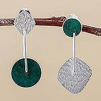 Chrysocolla dangle earrings, 'Opposites Attract' - Chrysocolla Wheels and Polished Silver Square Earrings