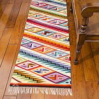 Wool runner, 'Rainbow Cascade' (2x10) - Handwoven Geometric Wool Area Runner (2x10)