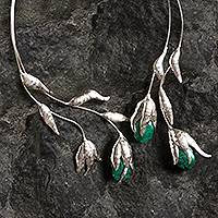 Chrysocolla wrap necklace, 'Flower of the Inca' - Handcrafted Fine Silver Necklace with Green Gem Accents