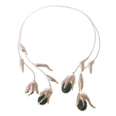Chrysocolla wrap necklace, 'Flower of the Inca' - Chrysocolla wrap necklace