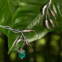 Chrysocolla wrap necklace, 'Flower' - Artisan Crafted Chrysocolla Fine Silver Collar