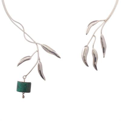 Artisan Crafted Chrysocolla Fine Silver Collar