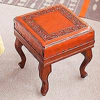 Leather and cedar ottoman, 'Inca Frieze' - Leather and cedar ottoman