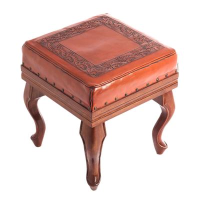 Leather and cedar ottoman, 'Inca Frieze' - Leather and cedar ottoman