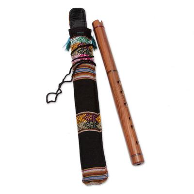 Wood quena flute, 'Jacaranda' - Quena Wood Inca Flute with Case Handmade in Peru