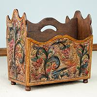 Leather and mahogany magazine rack, 'Sweet Contrasts' - Mahogany and Leather Magazine Rack Hand Tooled Furniture