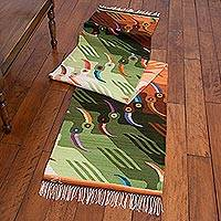 Wool rug, 'Toucan Tango' (2x10) - Artisan Crafted Wool Bird Long Runner (2x10)