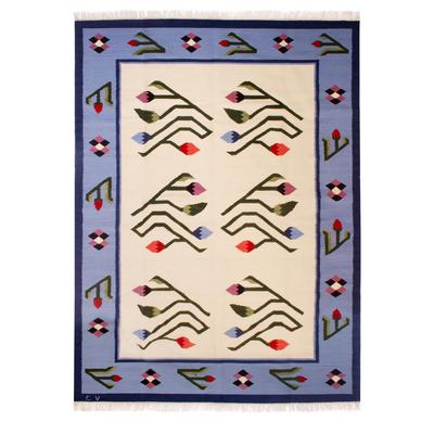 Wool rug, 'Floral Bud' (6x8) - Wool rug (6x8)