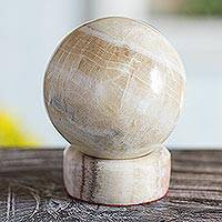 Calcite and jasper sphere, 'Be Calm' - Hand Crafted Calcite and Jasper Sculpture